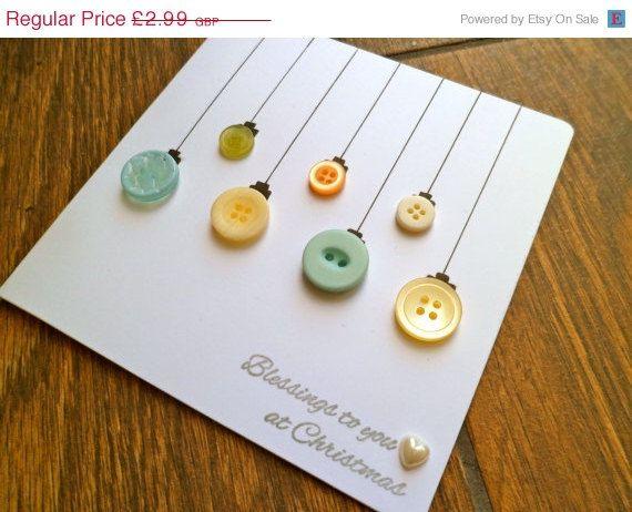Sale Christmas Card - Handmade Christmas Bauble Button Ornament Card, Holiday Card, Xmas Card,