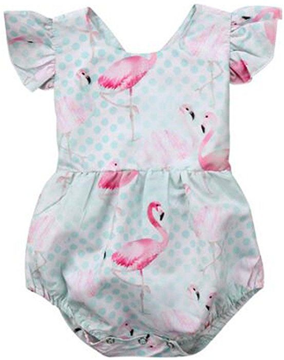 4fbbcb86a782 Amazon.com  BANGELY Baby Girls Cartoon Flamingo Print Ruffle Sleeve Romper  One-Piece Bodysuit Sunsuit Outfits Size 18-24Months Tag100 (Green)  Clothing