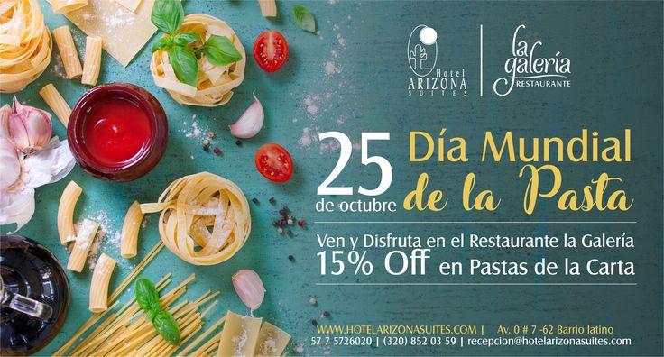 Mañana 25 de #Octubre disfruta en el Restaurante la Galería el #DiaMundialdelaPasta con un 15% de Descuento en la opción pastas de la Carta. Te esperamos!! Av. 0 # 7 -62 Barrio Latino #Cucuta #Colombia