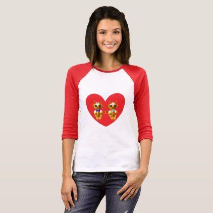 Heart with Cute Cat Couple T-Shirt - Saint Valentine's Day gift idea couple love girlfriend boyfriend design