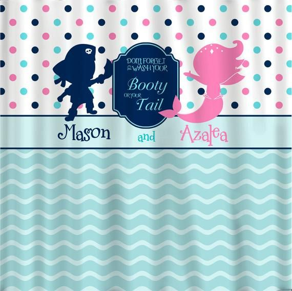Pirate Mermaid Shared Shower Curtain Hot Pink Navy Sea Etsy