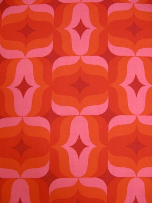 Vintage fabric in shades of orange and pink  70's