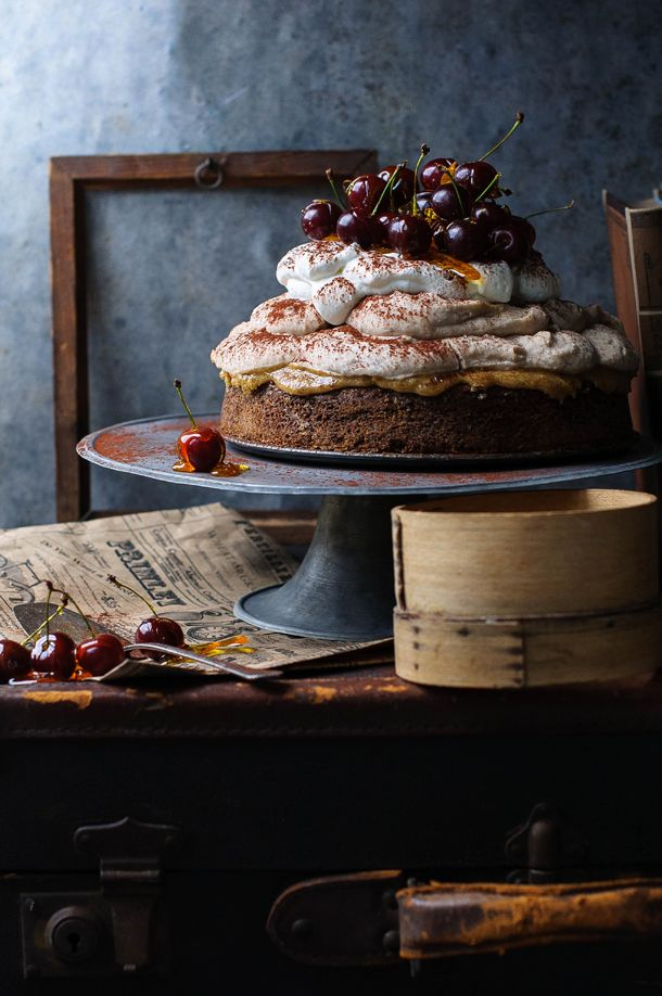 Chestnut mousse cake with sour cherries dipped in caramel.: