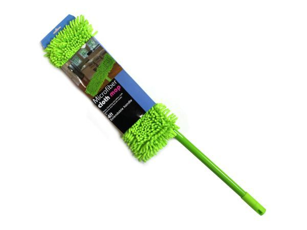 "Microfiber Cloth Mop, 3 - The key to keeping hard floors looking nice is making sure dust stays at bay. This Microfiber Cloth Mop is excellent at picking up dust and dirt and keeping floors looking nice with a colorful flair. The microfiber cloth mop head is attached to a 2-foot handle that can adjust to 4 feet. To clean, simply remove the mop head and either machine or hand wash. Head of mop measures approximately 17"" x 5"". Comes packaged in a hanging panel.-Colors: green. Material…"