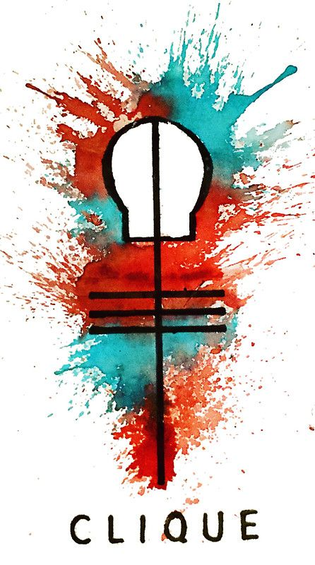 Skeleton clique watercolour symbol