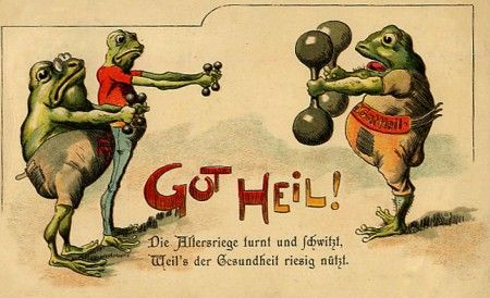 Postcard 1920 funny frogs pinterest training for Who commissioned the first christmas card in 1843