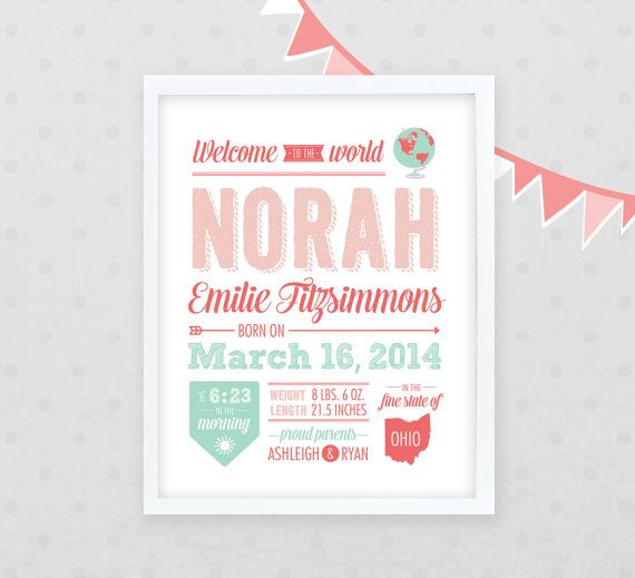Girl's Birth Announcement Poster 16x20 Nursery Art by Kindertype, $46.00
