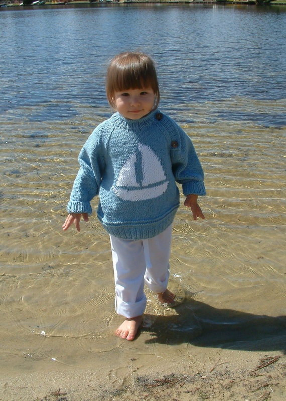 KNIT nautical SAILBOAT SWEATER for child by KIDthingsbyMonikaB, $50.00