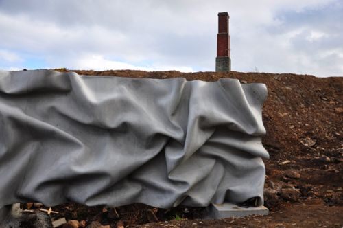 concrete wall made to look like fabric by Walter Jack Studio