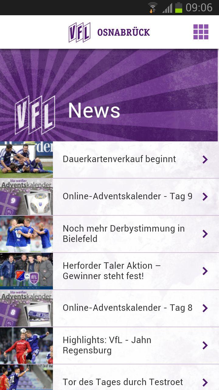 VfL Osnabrück App - News Übersicht