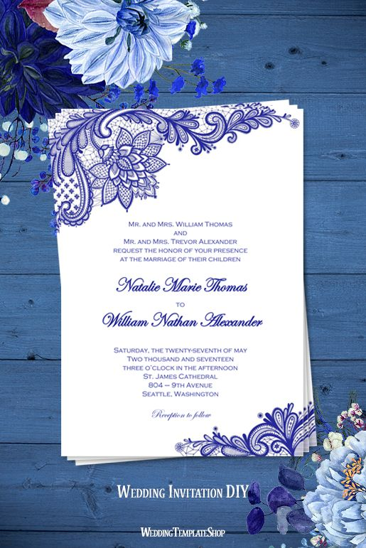 Vintage Lace Wedding Invitation Royal Blue
