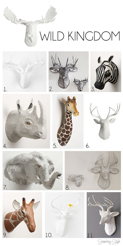 wild kingdom: antlers and animal busts    white deer heads, antlers, zebra head, giraffe head, rhino head, elephant head