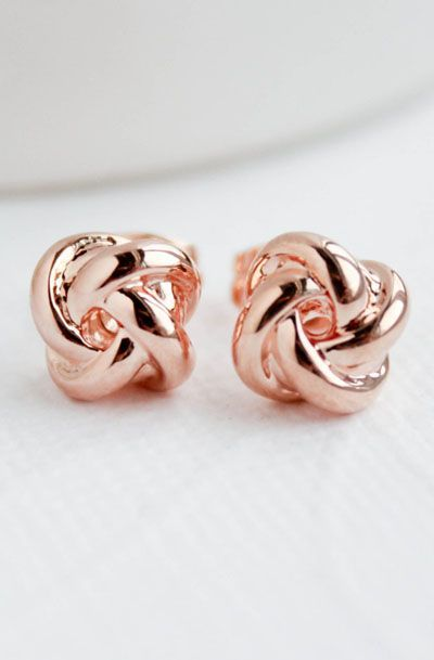 Rose Gold Knot Earrings, love