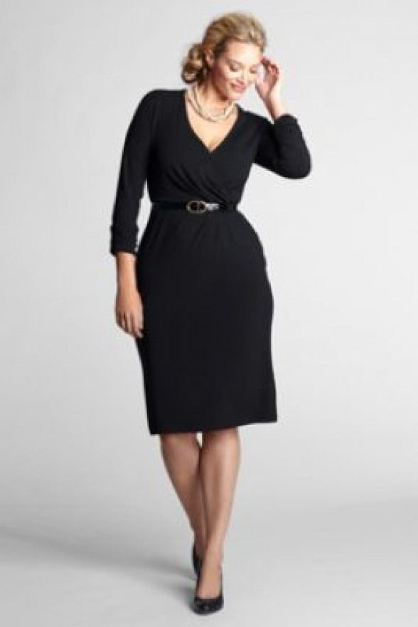 For work!! Classic wrap dress in Plus size Petite from Lands\' End ...