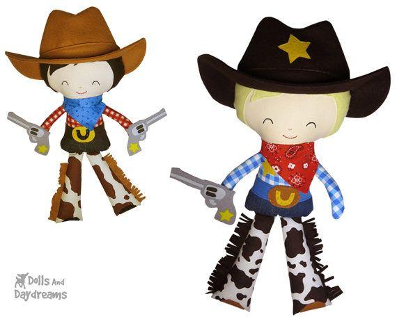 Cowboy Sewing Pattern PDF Sheriff DIY Cloth Doll Country Western Toy - includes removable bandana felt hat belt & guns