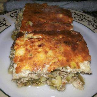 Σουφλέ Πρασο-κολοκυθο-κιμά