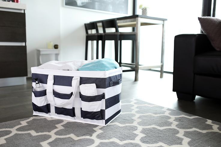 Utility Tote Navy Rugby Stripe