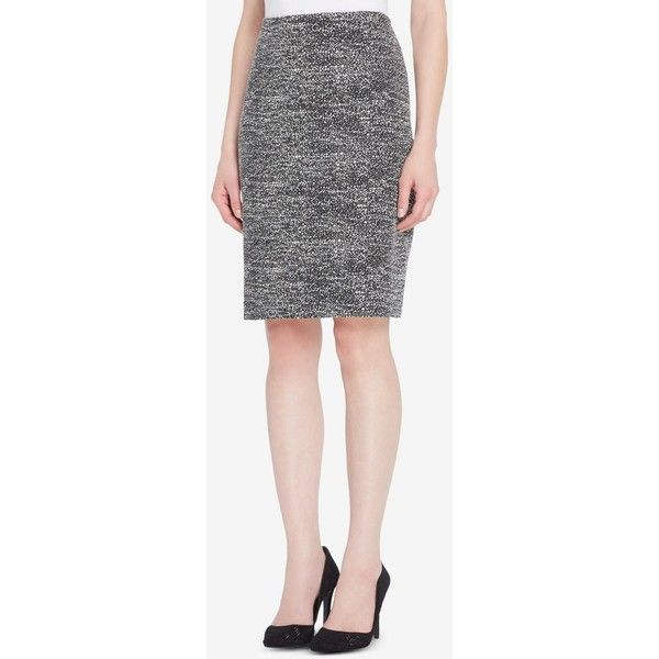 Tahari Asl Printed Pencil Skirt ($57) ❤ liked on Polyvore featuring skirts, shiny skirt, pencil skirt, slimming skirts, wet look skirt and petite pencil skirt