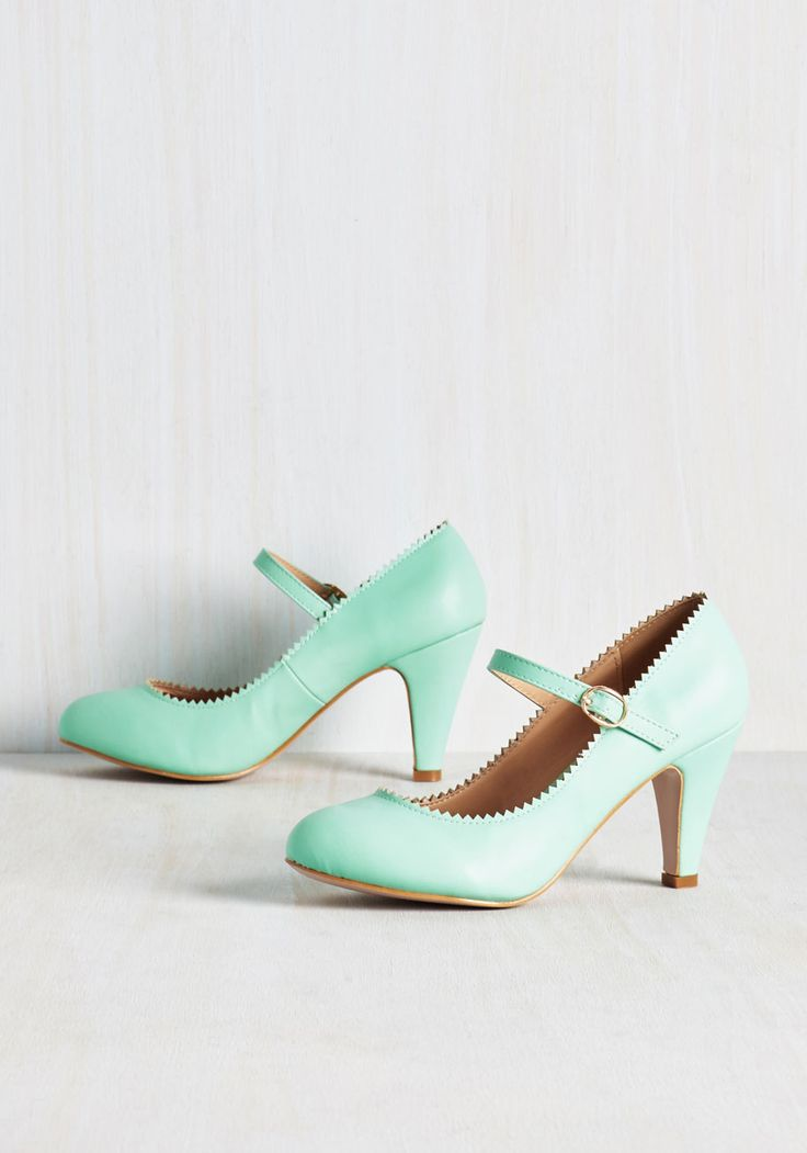 Romantic Revival Heel in Mint. With fingers entwined with your sweetheart's, you float to the dance floor in these vegan faux-leather heels for a classical waltz. #mint #wedding #modcloth