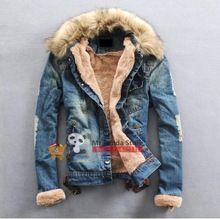 herren punk Winter warme pelzkragen pelzfutter jeansjacke mantel(China (Mainland))