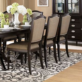LaSalle Espresso Nail Head Accent Transitional Dining Side Chairs (Set of 2)