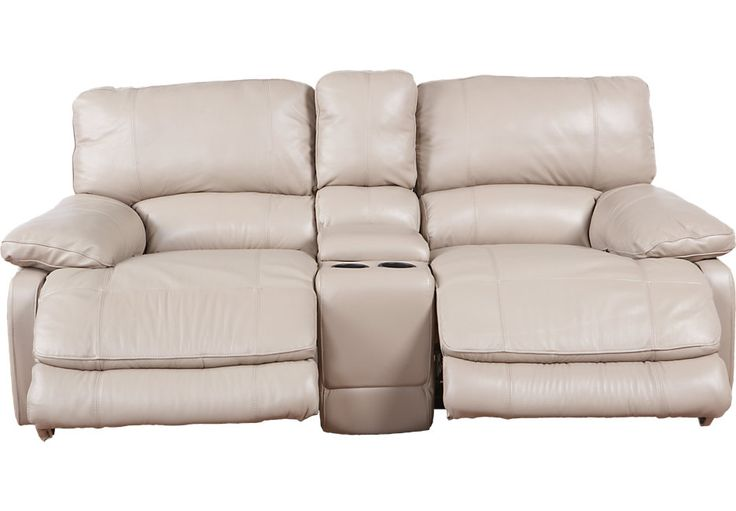 Cindy Crawford Home Auburn Hills Taupe Leather Reclining Glider Console Loveseat .1099.99. 81W x 41D x 39.5H. Find affordable Leather Sofas for your home that will complement the rest of your furniture.  #iSofa #roomstogo