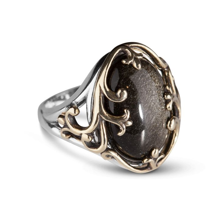 Carolyn Pollack Jewelry | Shimmer Obsidian and Mixed Metal Bold Ring