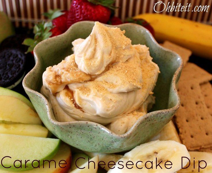 Caramel Cheesecake Dip--1-8oz. block of Cream Cheese 1 cup of Powdered Sugar 1 tbsp. Pure Vanilla Extract 1/4 cup of Caramel Sauce 1 tbsp. Graham Cracker Crumbs for garnish