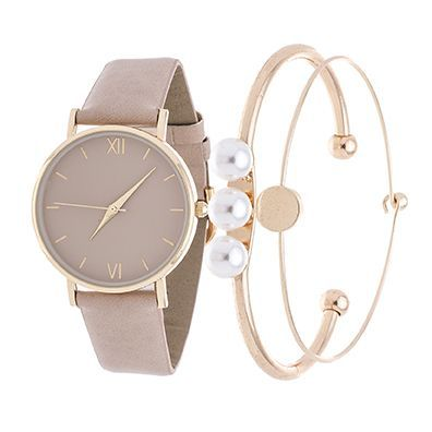 Xtreme Fortune NYC Arm Candy Ladie's Fashion Gold Case / Beige Strap Watch with a Set of 2 Bracelets
