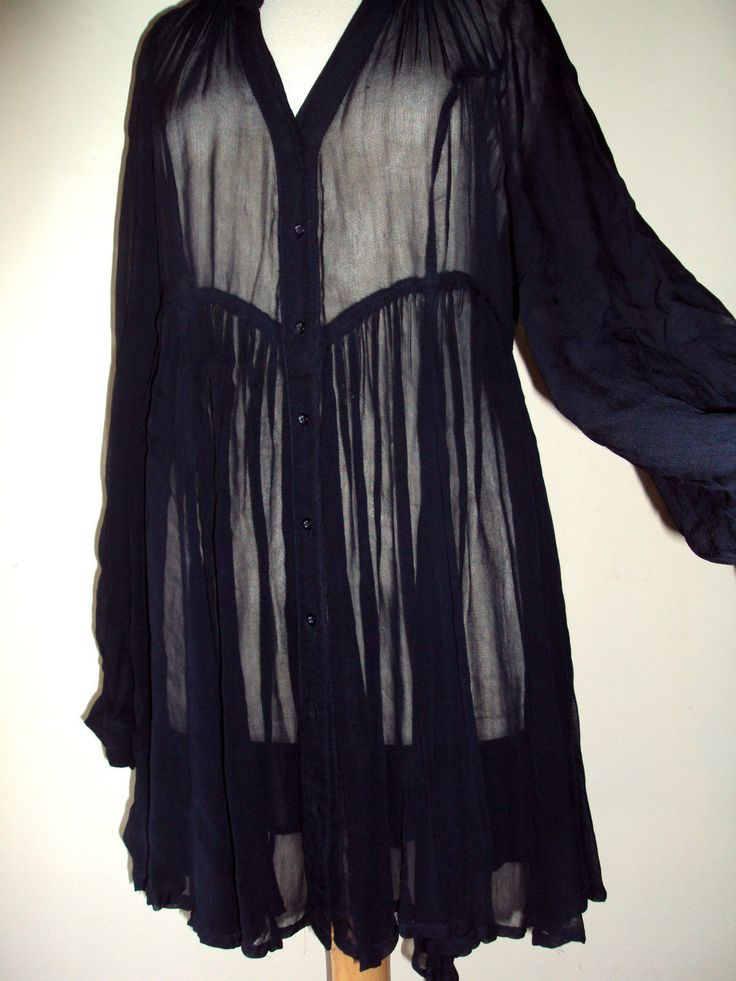 "HiPpY BoHo Goth Pagan Vintage Retro ""NEXT"" Black Sheer Blouse/Top Size 16 