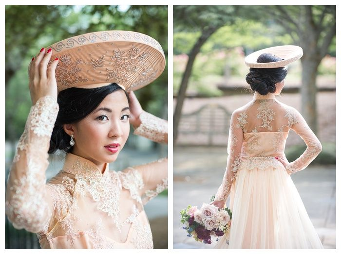 Kelli + Daniel Taylor Photography, LLC Blog » Birmingham-based wedding photography. Bride Thi wears a peach ao dai Vietnamese wedding gown at her Birmingham Botanical Gardens bridal session. Florals by Mandy Busby. Hair and Makeup by Melissa Moore Bogardus.