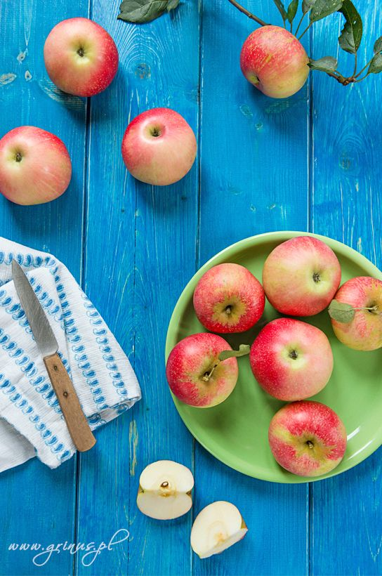 Apples on a blue table