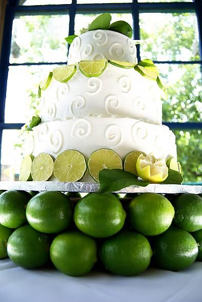 Key Lime wedding cake with key lime mousse /     Cake stand made of limes /  No recipe though :(