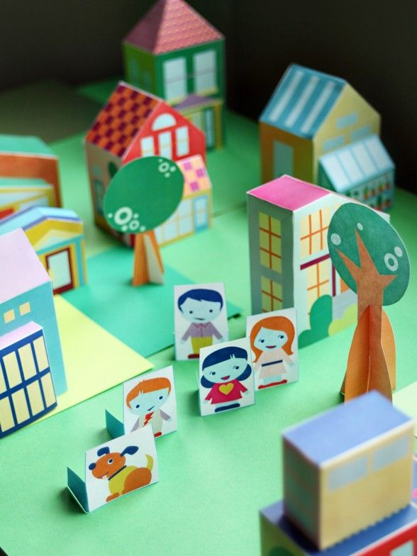 Free printable people to add to your growing paper toy house neighborhood - collect all 14 houses too! via SmallforBig.com #printables #kids #diy