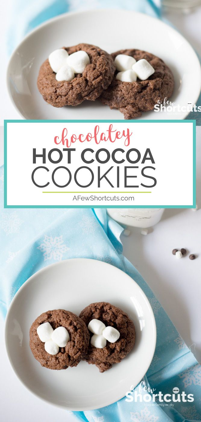 One of my favorite Christmas Cookies! This Hot Cocoa Cookies Recipe is easy to make and goes great with a cup of Hot Chocolate! #recipes #holidays #christmascookies #cookies