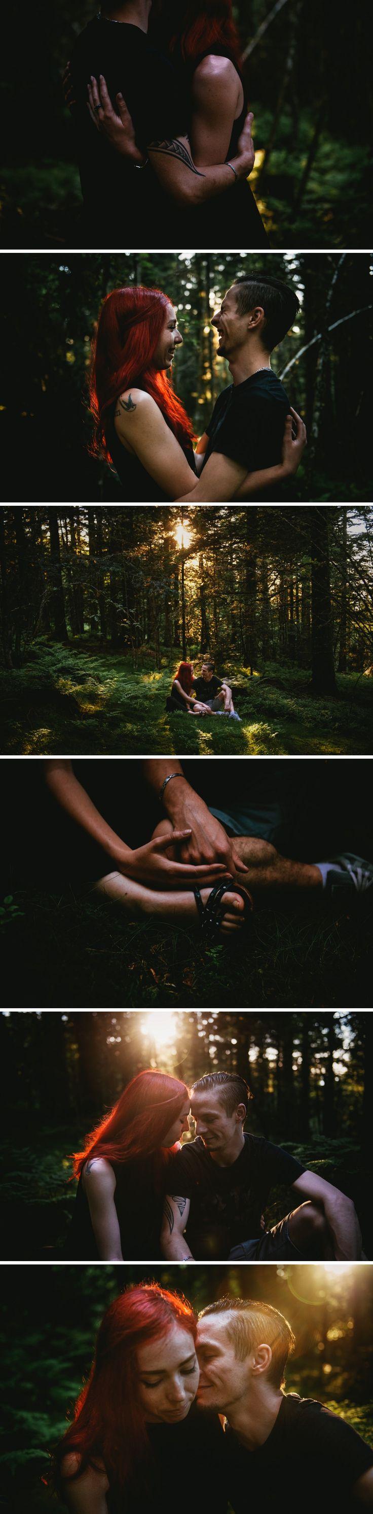 Séance couple intime en forêt - couple tatoué - cheveux rouges // Zephyr & Luna