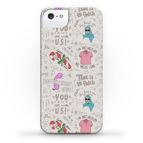 Mean Girls Doodle Pattern - Check out this super fetch Mean Girls doodle pattern phone case! Show off your love of that hilarious cult comedy movie with this Cady Heron, Regina George, high school movie, sketch, hand drawn, girly phone case! Make sure you wear pink on Wednesdays if you want to be in the Plastics!