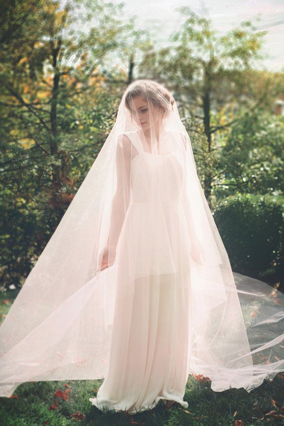 Blush Pink Cathedral Wedding Veil - Bridal Veil - Drop Veil with Smooth Cut Edge - Simple Wedding Veil - Circle Cut Veil - Rome