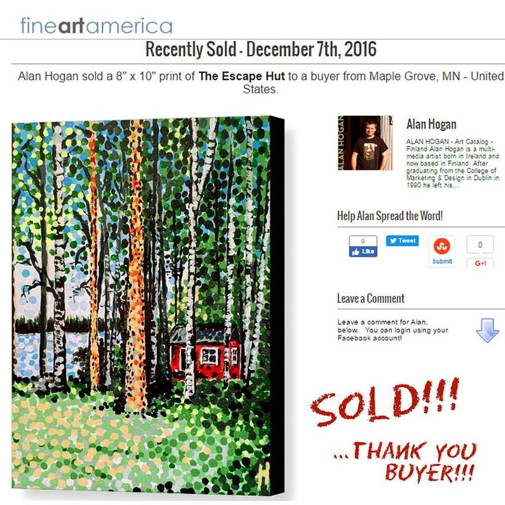 ..Sold!! :D .. thanks to the person from Maple Grove, Minnesota in the U.S.A. who recently purchased this print of 'The Escape Hut' from my @fineartamerica webstore. Much appreciated and Happy Holidays!!! #sold #fineartamerica #art #taide #konst #konstnär #artist #instaart #instaartist #prints #gift #giftsonline #giftideas #artsales #maplegrove #finland #nagohnala #hoganfinland #instalike #artofvisuals #artistsofinstagram #dalerrowney