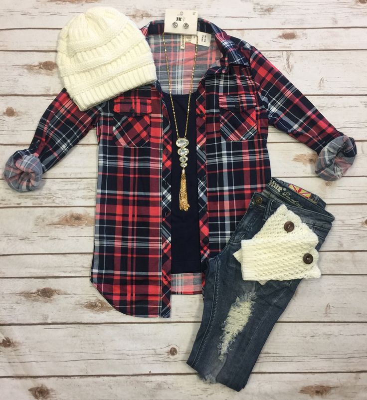 Penny Plaid Flannel Top: Coral/Navy from privityboutique