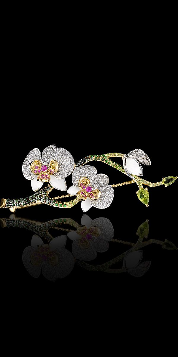 Master Exclusive Jewellery - Коллекция - Diamond Orchid Flowers Pin♥♥
