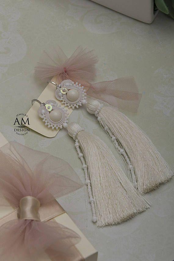 White Tassel Earrings Dangle Pearl Earrings Bridal Gift For