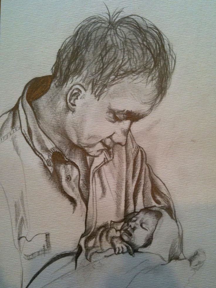 Father and daughter, sketch by Clarissa Jeffery  @clarissajeffery