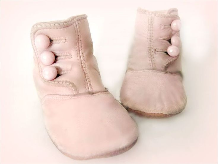 pale pink, glove leather antique baby shoes Shabby chic  baby Shabby Chic Baby Nursery <3