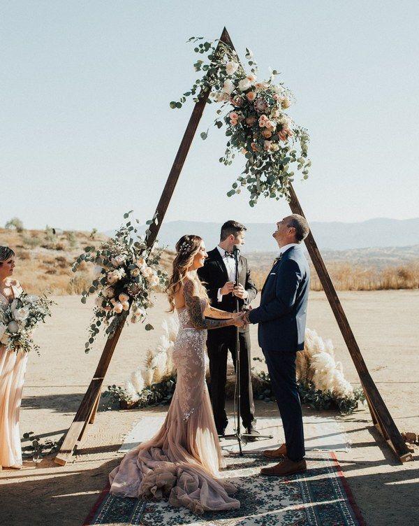 Boho Eucalyptus Triangle Wedding Arch with Roses #wedding #weddingideas #weddingarches #weddingdecor #weddingdecoration #boho #bohoweddings