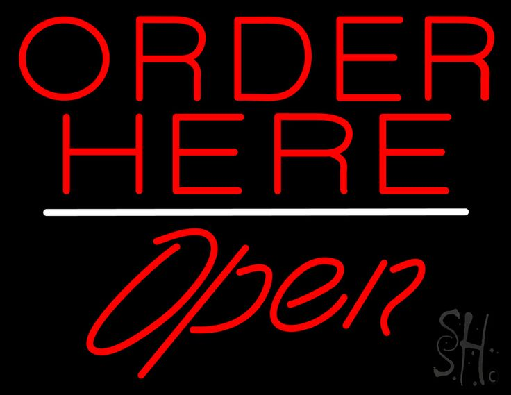 Order Here Open White Line Neon Sign 24 Tall x 31 Wide x 3 Deep, is 100% Handcrafted with Real Glass Tube Neon Sign. !!! Made in USA !!!  Colors on the sign are Red and White. Order Here Open White Line Neon Sign is high impact, eye catching, real glass tube neon sign. This characteristic glow can attract customers like nothing else, virtually burning your identity into the minds of potential and future customers.