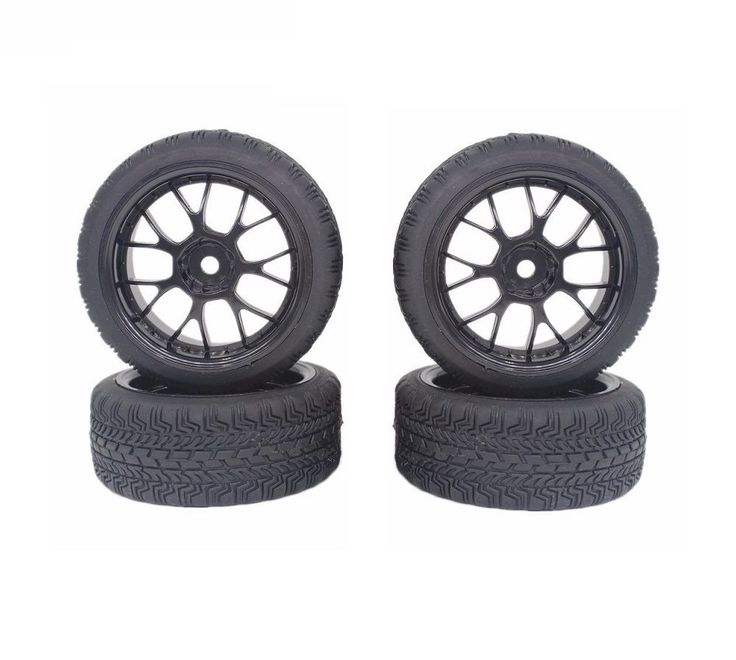 1:10 On Road Flat Racing RC Car Rubber Tires Wheels Tyres Y Spoke Rims  - UK #Unbranded