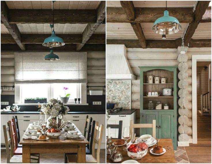 Столовая и кухня в стиле кантри