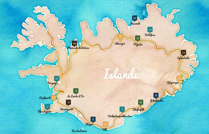 2 semaines est la durée idéale pour avoir un bon aperçu de l'Islande. Je vous propose un itinéraire de l'ile par la route 1 - la route principale