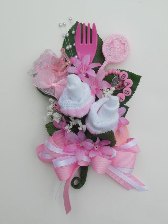 baby shower corsage baby girl bootie corsage new mom pink corsage reusable items